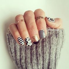 Jamberry Nail Wraps - my latest jamicure JAM session #jamberry 》mommabfit.jamberrynails.net 》  #manicure #maniMONDAY #JamberryNails #midirings #maurices #mystyle #fashiongram #BlackWhiteStripeJN #leopardJN #MetallicGoldPinstripeJN #BlackTipJN #BlackWhiteSkinnyJN