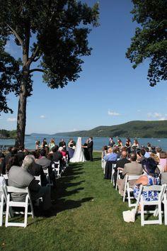 Wedding Ceremony at The Otesaga Resort Hotel #cooperstown #fairytalewedding #otsegolake
