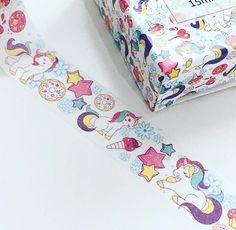 Pretty unicorn washi unicorn washi tape unicorn washi washi Unicorn Kids, Unicorn Art, Kawaii Shop, Mythical Creatures, Happy Planner, Washi Tape, Stationery, Unique Jewelry, Handmade Gifts