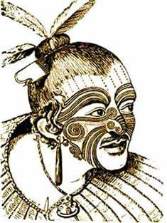 Oude Maori-tattoages. Vooral de getatoeëerde snor vind ik leuk. ^__^