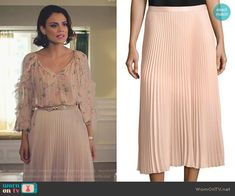 "Cristal Flores wears this ""Annina"" pink midi skirt from Club Monaco on Dynasty 1x08"