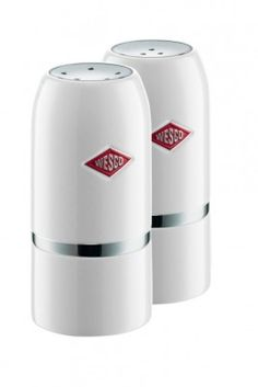 Our Wesco Salt & Pepper Shaker Set in White will shake up your culinary skills! #wesco #shakeitup