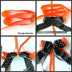 "How to ""Tie"" a Double Bow in 4 easy steps with photo tutorial (Note: The link for this pin leads to a ""how-to"" trick or treat bucket idea that is equally as cute as the bows.)"