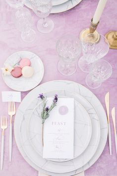 La Tavola Fine Linen Rental: Velvet Lilac | Photography: Daria Lorman Photography, Venue: Chateau de Santeny, Planning & Design: A La Francaise Events, Florals: Esther Lamarche, Paper Goods: Ivy Cousin, Cake: Sweet Creations, Rentals: Vaisselle Vintage and La Maison Options, Candles: Creative Candles