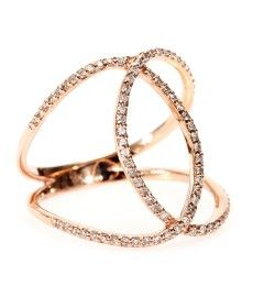 Jacquie Aiche 14k rose gold pave white diamond overlap circle eternity ring