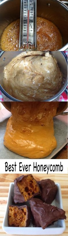 Best Ever Honeycomb recipe AKA Cinder Toffee, Hokey Pokey, Sponge Candy & Crunchie. With Kitchen Shed Tips to help you make the crunchiest honeycomb.