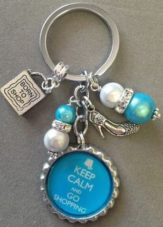 bottle cap key chain  charms | is for one KEEP CALM and GO SHOPPING bottle cap key chain. This key ...