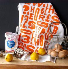 ORANGE Tea Towel type design Screen printed linen by Printshack