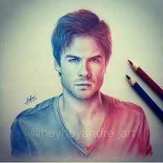 Find images and videos about sexy, Hot and the vampire diaries on We Heart It - the app to get lost in what you love. The Vampire Diaries, Vampire Diaries Wallpaper, Vampire Diaries The Originals, Damon Salvatore, Portrait Sketches, Art Drawings Sketches, Ian Somerhalder Vampire Diaries, Vampire Daries, Dark Fantasy Art