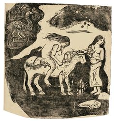 Artwork by Paul Gauguin, L'Enlèvement D'Europe, Made of Woodcut printed in black on Japan paper supported on wove paper