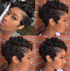 Best Short Pixie Hairstyles for Black Women 2018 – 2019 - Hair - Hair Designs Short Sassy Hair, Short Hair Cuts, Short Pixie, Pixie Cuts, Short Hair Weaves, Black Short Cuts, Short Perm, Short Black Hairstyles, Pixie Hairstyles