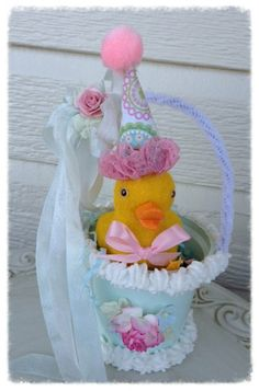 Vintage Flocked Easter Duck in an Easter Hat  Easter by JeanKnee, $7.00