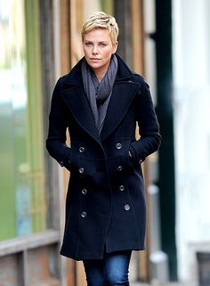 Charlize Theron in NYC...man if I could rock short hair I would