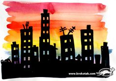 сгради Group Art Projects, School Art Projects, Sunset Silhouette, Silhouette Art, Visual Art Lessons, 3rd Grade Art, Cityscape Art, Shadow Art, Landscape Quilts