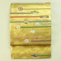 Gold, fukuro obi / 金地 横線と様々な刺繍のお太鼓柄 袋帯   #Kimono #Japan http://global.rakuten.com/en/store/aiyama/