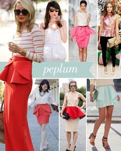 the peplum look seems hard to pull off, but I think the mint skirt on the bottom right is simple enough and lovely!