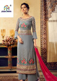 Party Wear, Reception Black and Grey color Salwar Kameez in Georgette fabric with Palazzo Embroidered, Resham, Sequence, Thread work : 1614411 Style Palazzo, Palazzo Suit, Party Wear Dresses, Bridal Dresses, Casual Dresses, Chiffon Dresses, Formal Dresses, Designer Salwar Suits, Designer Anarkali