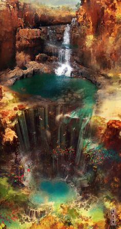 Hidden Falls Alternate from TavenerScholar. on deviantART - Hidden Falls Alternate by TavenerScholar.de … on deviantART, - Fantasy Places, Fantasy World, Dark Fantasy, Final Fantasy, Fantasy Landscape, Landscape Art, Fantasy Art Landscapes, Landscape Concept, Fantasy Setting
