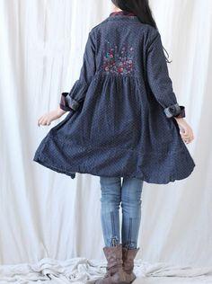 Cotton single breasted dress/ denim long shirt