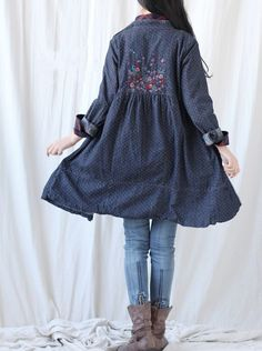 Cotton single breasted dress/ denim long shirt by MaLieb on Etsy, $99.00