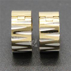 Free Shipping Wholesale Brand New Design Women Girl Stainless Steel Gold Plated Gear Huggie Hoop Earrings