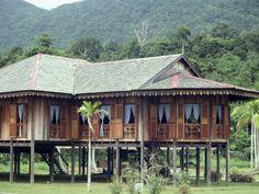Traditional Muslim Malay Wooden House on Sarawak, Malaysia, Southeast Asia