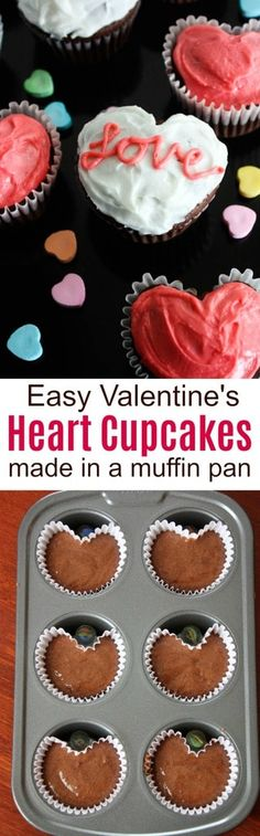 Valentine Heart Cupcakes are made using a standard muffin pan and a small marble.  Your kids will love making and decorating this simple, fun Valentine