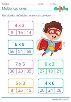 Math Multiplication Worksheets, Kids Math Worksheets, Go Math, Math For Kids, Math Exercises, Math Sheets, Cycle 2, Math School, Mothers Day Crafts For Kids