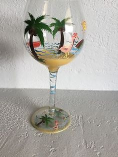 "Tropical Wine Glass Pink Flamingo Palm Trees Beach Hand Painted 8.5"" tall"