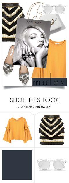 """mules"" by www-mbalenhlemm ❤ liked on Polyvore featuring MANGO, Oscar de la Renta, Balmain, White House Black Market and Karen Walker"