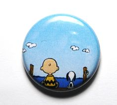 Charlie Brown and Snoopy 1 inch Button PIN or MAGNET by snottub, $1.25