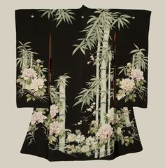 Bamboo and Peony Design Furisode - Early Showa Period