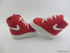Nike crochet booties, red and white