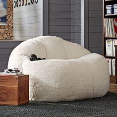 Ivory Sherpa Faux Fur Cloud Couch 55