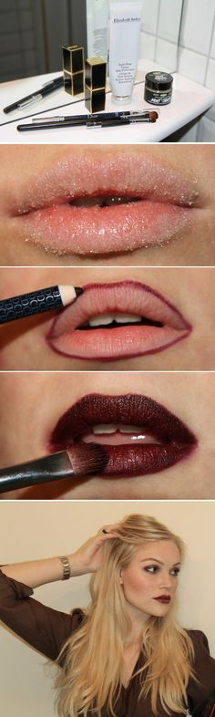 Dark Lipstick How-To (the most common mistake made for applying any lip product is not exfoliating!) Love this tutorial!