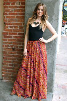 Ark & Co., Boho Chevron Print Maxi Skirt