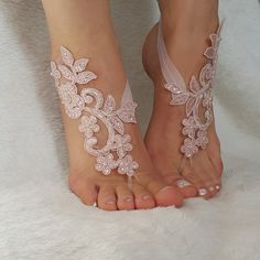 blush pink beaded beach wedding barefoot sandals by BarefootShop Barefoot Sandals Wedding, Bridal Sandals, Bridal Shoes, Wedding Shoes, Bridal Jewelry, How To Tie Shoes, Flower Shoes, Bare Foot Sandals, French Lace
