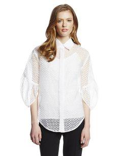 Catherine Malandrino Women's Elayna Exaggerated Sleeve Button Down Lace Blouse, Blanc, 8