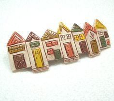 Row Houses   Handmade Polymer Clay Barrette by MyStudio91 on Etsy, $24.00