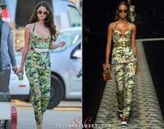 Selena Gomez looks smokin' on the set of a new photoshoot in Los Angeles today, wearing a look from the Kenzo Spring 2013 RTW Collection.  She's also wearing her Free People sunglasses.