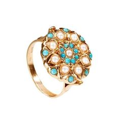 Adita 14K Solid Rose Gold Ring HANDMADE White Pearl Blue Turquoise Vintage Ring #Handmade