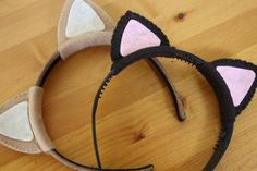 I love these cute cat ear headbands.   They seem simple enough to make and wont cost a lot to make. Im thinking of making mine purple and wearing them whenever i feel like it. :D