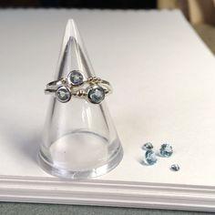Honeybourne Jewellery . Bespoke . 9ct Gold & Sky Blue Topaz Twist Ring . Solid Silver . Engagement . Wedding