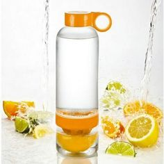 Creative Cylindrical Plastic Lemon Cup Portable Manual Fruit Infuser Water Bottle random color