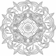 Mandala 451, Creative Haven Nature Mandalas Coloring Book, Dover Publications.