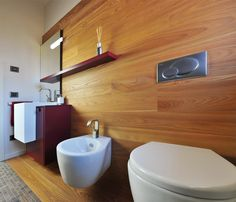 Elegant Master Bathroom Interior Design With Wooden Wall Different And White Seat Toilet Also Simple Vanity Sink Set On Corner Plus Mirror Wall Mounted Ideas Modern Master Bathroom Ideas with Specific Characteristics Bathroom design