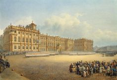 View of the Winter Palace from the Admiralty. Guard Mounting - Vasily Semyonovich Sadovnikov | Cityscape Drawings, State Hermitage Museum