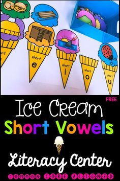 Short vowel kindergarten literacy center. Fun, engaging literacy center to review and reinforce the vowel sounds. Short Vowel Activities, Word Study Activities, Spelling Activities, Literacy Activities, Reading Resources, Kindergarten Morning Work, Kindergarten Centers, Literacy Centers, Kindergarten Reading