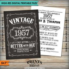 Vintage Birthday Invitation INCLUDES THE FRONT BACK This Listing Includes 2 High Res 5x7 Digital Printable Files O 1 Front