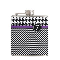 houndstooth and chevron pattern hip flask